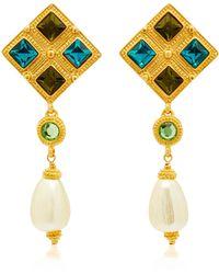 Gold-Plated Brass Crystal Chandelier Earrings Ben-Amun LvkSPlUp