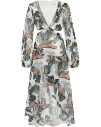 Suboo - Xenia Cutout Animal-print Midi Dress - Lyst