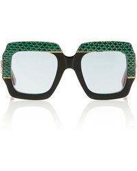 Gucci - Square-frame Snakeskin And Acetate Sunglasses - Lyst