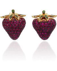 Khai Khai - 18k Gold, Ruby, And Tsavorite Earrings - Lyst
