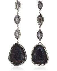 Kimberly Mcdonald - Rhodium-plated 18k Gold, Geode And Diamond Multi-tiered Earrings - Lyst