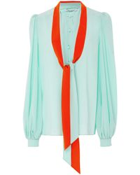 Givenchy - Silk Crepe De Chine Shirt With Lavaliere Collar - Lyst