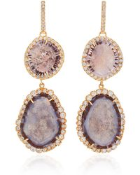 Kimberly Mcdonald - 18k Rose Gold, Geode, And Diamond Earrings - Lyst