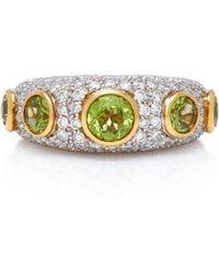 Gioia - 18k Gold, Peridot And Diamond Ring - Lyst