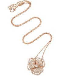 AS29 - Pave Flower With Line Necklace - Lyst