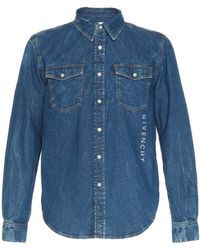Givenchy - Printed Logo Denim Button-up Shirt - Lyst
