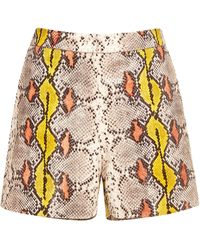 Rochas - Snake-effect Leather Shorts - Lyst