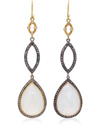 Sara Weinstock - Tiered 18k Gold, Moonstone And Diamond Earrings - Lyst