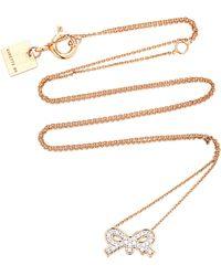 Ginette NY - Tiny Diamond 18k Rose Gold Necklace - Lyst