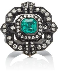 Colette - 18k Oxidized Gold, Diamond And Emerald Ring - Lyst