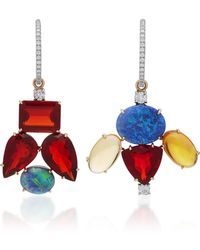 Irene Neuwirth - One-of-a-kind 18k Gold Fire Opal And Opal Mismatch Charm Earrings - Lyst