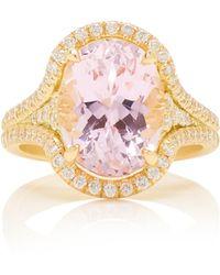 Jamie Wolf - 18k Yellow Gold Diamond Edge Kunzite Oval Ring - Lyst