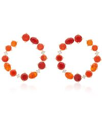 Katherine Jetter - One-of-a-kind Fire Opal Hoop Earrings - Lyst
