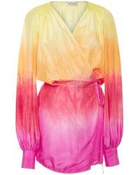 Attico - Degrade Wrap Silk Dress - Lyst