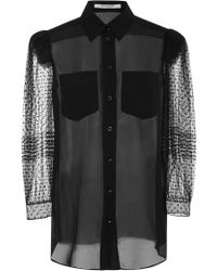 Givenchy - Flocked Silk Crepe De Chine Blouse - Lyst