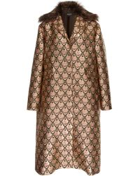 Rochas - Fur Trimmed Metallic Jacquard Coat - Lyst