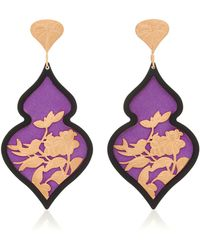 Anna E Alex - Silver And Rose Gold-plated, Velvet Resin Earrings - Lyst