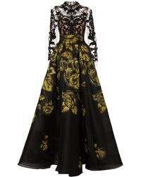Marchesa - Floral-embroidered Silk-jacquard And Lace Gown - Lyst
