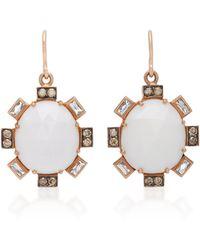 Sylva & Cie - 14k Rose Gold, Cocholong And Diamond Earrings - Lyst