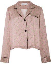 Fleur du Mal - Pink Silk Pajama Top - Lyst