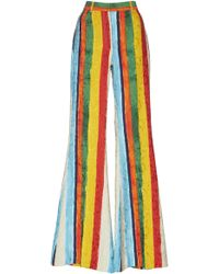 Dolce & Gabbana - Striped Crepe De Chine High-rise Flared Trousers - Lyst