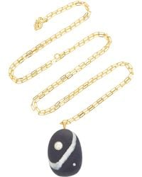 Buenos Aires 18K Gold Beach Stone and Diamond Necklace CVC e7pTxta