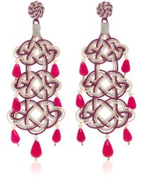 Anna E Alex - Woven Stone Silver-plated Earrings - Lyst