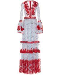 Costarellos | Bell Sleeve Long Dress | Lyst
