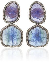 Amrapali - 18k Gold Tanzanite And Diamond Earrings - Lyst