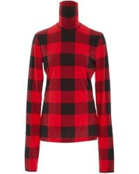 Proenza Schouler - Pswl Checked Stretch-cotton Jersey Turtleneck Top - Lyst
