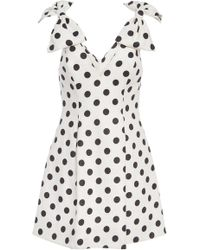 Zimmermann - Bow-detailed Polka-dot Linen Mini Dress - Lyst