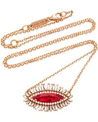 Suzanne Kalan - One-of-a-kind 18k Rose Gold Rhodonite And Diamond Necklace - Lyst
