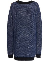 Balmain - Sparkle Tweed Crochet-knit Sweater Dress - Lyst