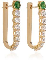 Melissa Kaye - Aria 18k Gold, Diamond And Tsavorite Garnet Hoop Earrings - Lyst