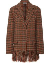 Oscar de la Renta - Fringe-trimmed Wool-blend Prince Of Wales Coat - Lyst