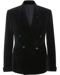 Ralph Lauren - Double-breasted Velvet Blazer - Lyst