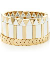 Roxanne Assoulin - Set-of-three Gilded Mixed Bracelets - Lyst