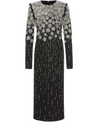 Givenchy - Embellished Embroidered Crepe Midi Dress - Lyst
