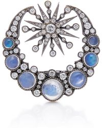 Colette - 18k Oxidized Gold, Moonstone And Diamond Ring - Lyst