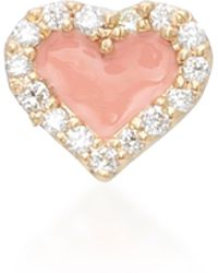 Alison Lou - Coral Heart 14k Yellow Gold And Diamond Studs - Lyst