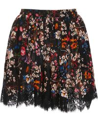 Elie Saab - Lace Trim Silk Printed Shorts - Lyst