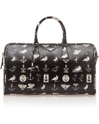 Prada Nautical-print Leather Gym Bag