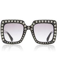 Gucci - Crystal-embellished Square-frame Sunglasses - Lyst