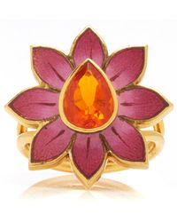 Holly Dyment - Eden Pink And White Enamel Flower Ring - Lyst