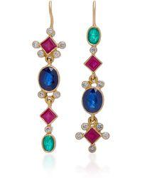 Renee Lewis - 18k Gold, Ruby, Sapphire And Diamond Earrings - Lyst