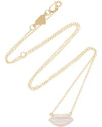 Alison Lou - 14k Gold Enamel Pink Lip Necklace - Lyst