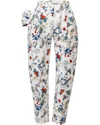 Anouki | Textured White Multicolor Flower Print Cropped Pants | Lyst