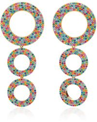 Joanna Laura Constantine - Rainbow Grommets Gold-plated Brass And Cubic Zirconia Statement Earring - Lyst
