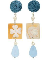 Anna E Alex - Shell, Stone And Silver-plated Earrings - Lyst