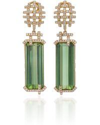 Goshwara - 18k Gold, Touramline And Diamond Earrings - Lyst